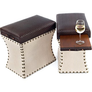 Couef Label Carey Cable Chocolate and Linen Storage Ottoman with Pull-out Shelf