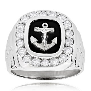 14k Gold 1 1/2ct Diamond and Black Onyx Anchor Ring (H-I, SI1-SI2)