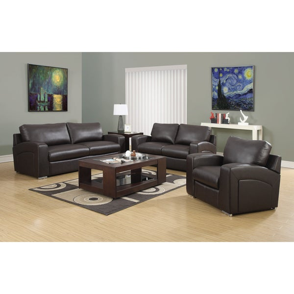 Dark Brown Bonded Leather / Match Love Seat