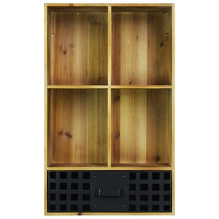 Natural Wood Finish Wood Cabinet with Metal Door 4 Shelves
