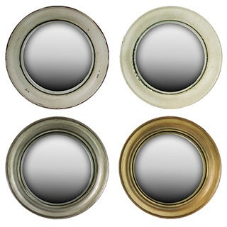 Ivory, Beige, Silver and Gold Metal Convex Mirror Assortment of 4