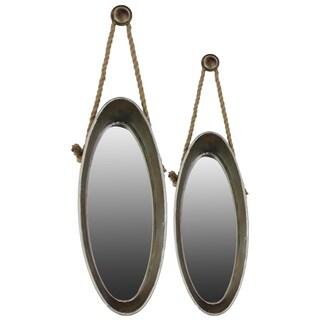 Galvanized Zinc Metal Mirror with Rope Hangers (Set of 2)