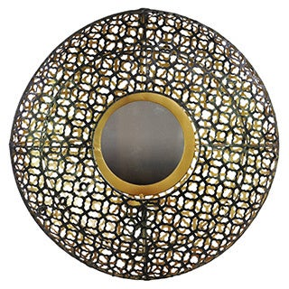 Black Metal Accent Wall Mirror with Mesh Design and Interior