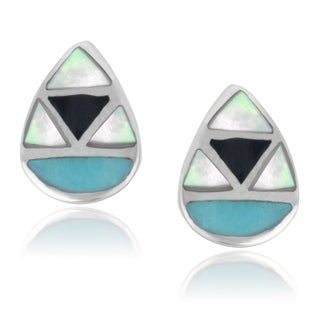Journee Collection Sterling Silver Turquiose Hand Crafted Stud Earrings