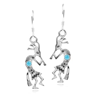Journee Collection Sterling Silver Turquoise Kokopelli Dangle Earrings