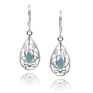 Journee Collection Sterling Silver Turquoise Dangle Earrings