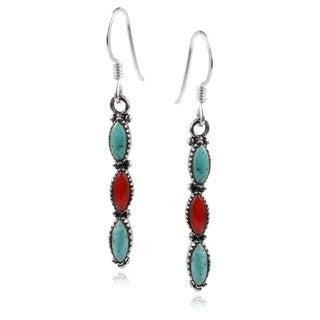 Journee Collection Sterling Silver Turquoise and Coral Dangle Earrings