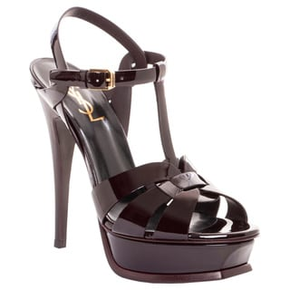 Saint Laurent Tribute Burgundy Patent Leather Heel