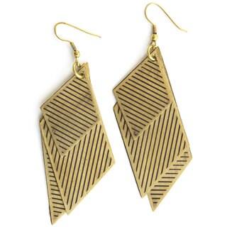 Goldtone Rhombus in the Rough Earrings (India)