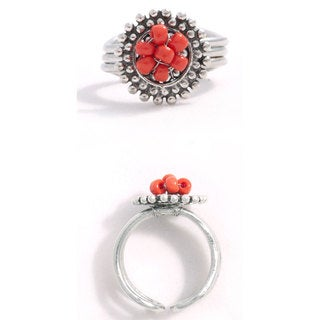 Adjustable Petal Ring Red (India)