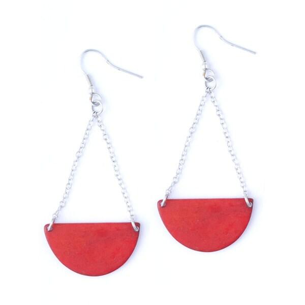 Handcarved Bone Red Moon Earrings (India)