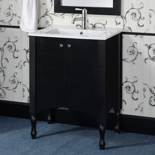 Wood/ Ceramic 24-inch Black/ White Bathroom Vanity