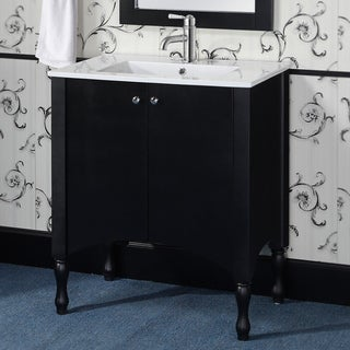 Wood/ Ceramic 30-inch Black/ White Bathroom Vanity