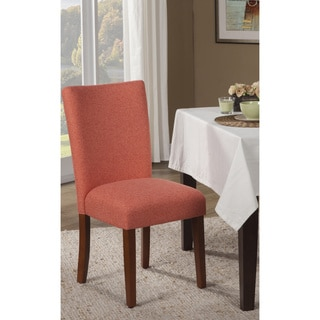 HomePop Dark Coral and Cream Houndstooth Parson Dining Chair (Set of 2)