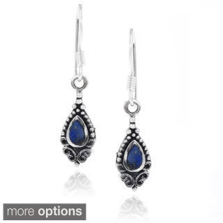 Journee Collection Sterling Silver Blue Gemstone Dangle Earrings