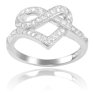 Journee Collection Sterling Silver Cubic Zirconia Twist Heart Ring
