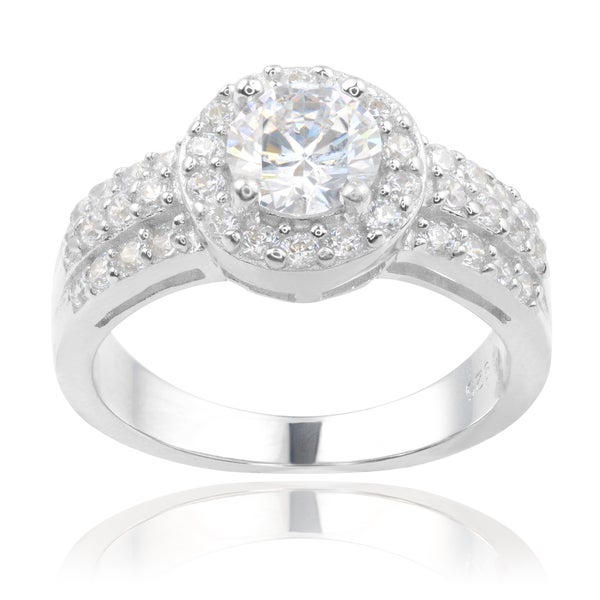 Journee Collection Sterling Silver Cubic Zirconia 2-row Engagement Ring