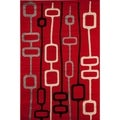 Power Loomed Red Geometric Bowery 4394 Rug (5' x 8')