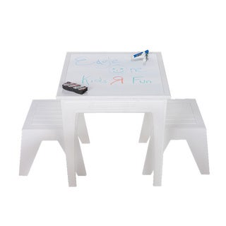 Eagle One 3-piece White Greenwood Kids Dining Set with Stools