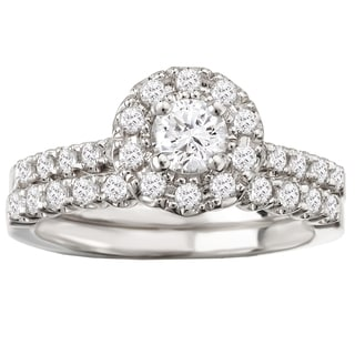 Avanti 14k White Gold 1ct TDW Round Halo Diamond Bridal Ring Set (G-H, SI1-SI2)
