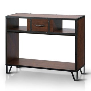 Furniture of America Sivenza Vintage Walnut Industrial Sofa Table