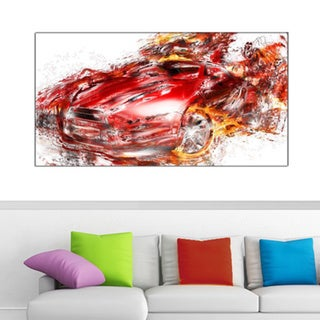 Flaming Red Sports Car Small Gallery Wrapped Canvas