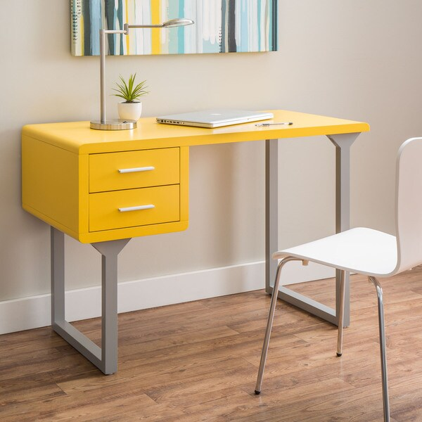 Retro Yellow And Grey Writing Desk 16933214 Overstock