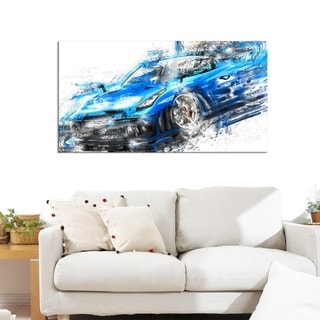 Burning Rubber Blue Super Car Small Gallery Wrapped Canvas
