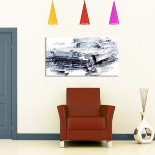 Grey Muscle Car Small Gallery Wrapped Canvas