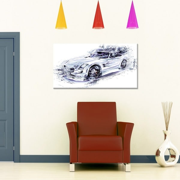 White Convertible Car Small Gallery Wrapped Canvas