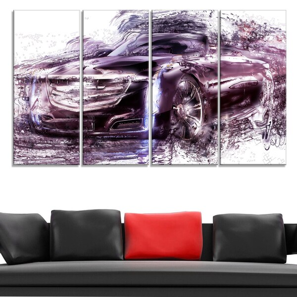 Black Convertible Car Large Gallery Wrapped Canvas