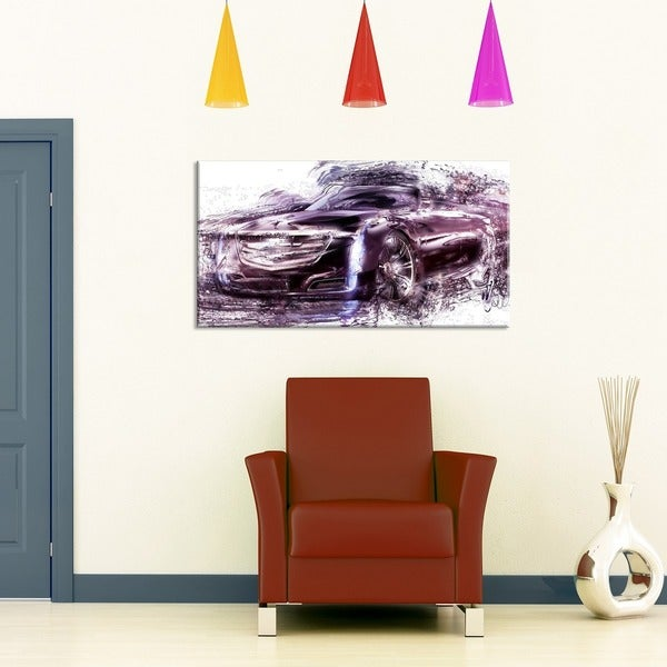 Black Convertible Car Small Gallery Wrapped Canvas