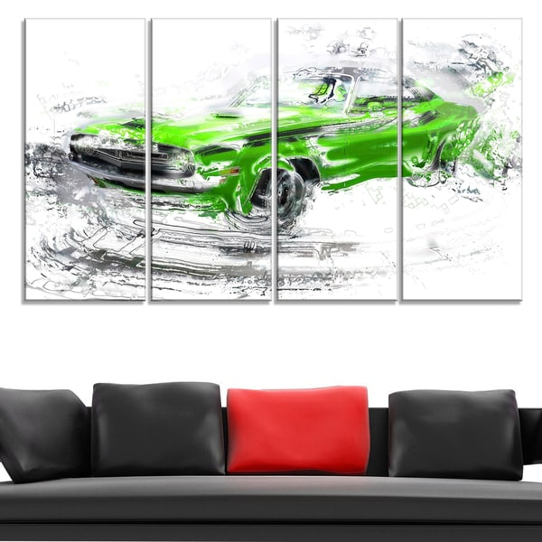 Green American Classic Car Large Gallery Wrapped Canvas