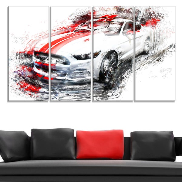 White and Red Sports Car Large Gallery Wrapped Canvas