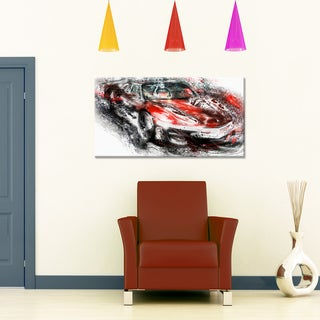 Black and Red Sports Car Small Gallery Wrapped Canvas
