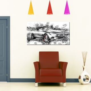 Abstract Grey Luxury Car Small Gallery Wrapped Canvas