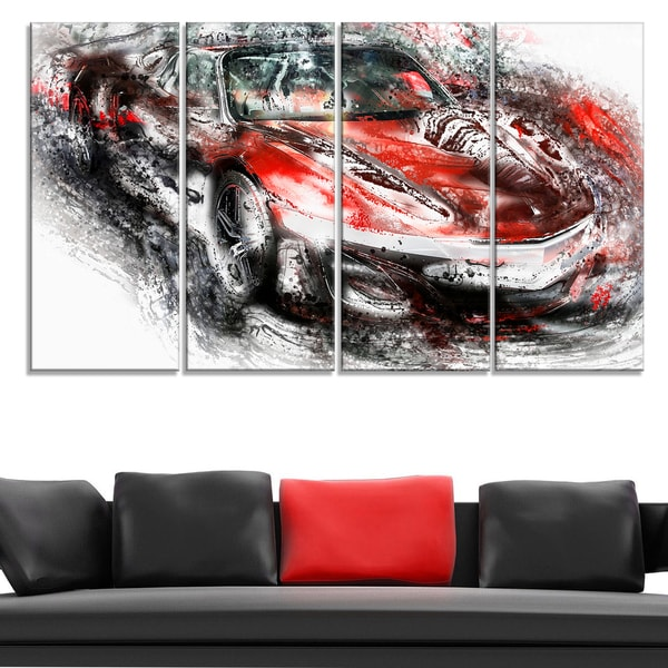 Black and Red Sports Car Large Gallery Wrapped Canvas