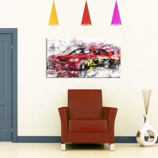 Red Rally Car Small Gallery Wrapped Canvas