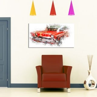 Orange Classic Car Small Gallery Wrapped Canvas