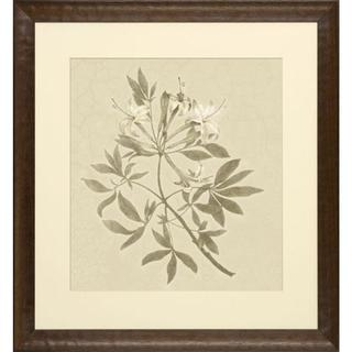 Blooms on Crackled Cream Small Leaf Framed Art Print