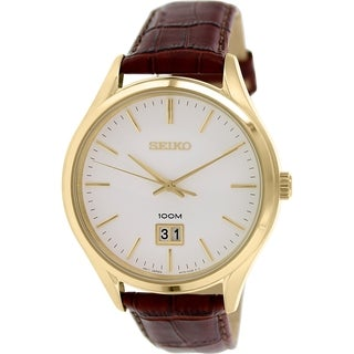Seiko Men's SUR026 Brown Leather Quartz Watch