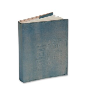 Sitara Handmade Refillable Merallic Powder Blue Embossed Leather Journal (India)