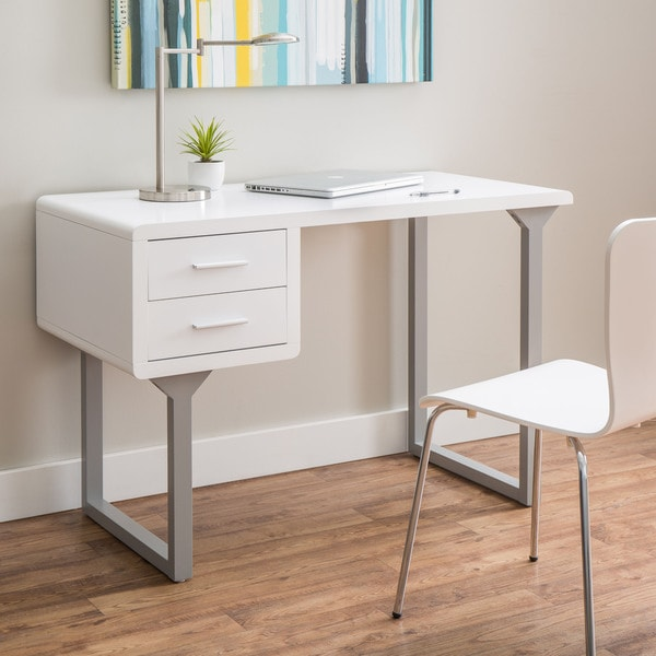 Retro White And Grey Writing Desk 16933363 Overstock