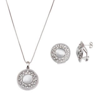 Rhodium Plated Silver and White Swarovski Elements Round Earrings and Pendant Necklace Set