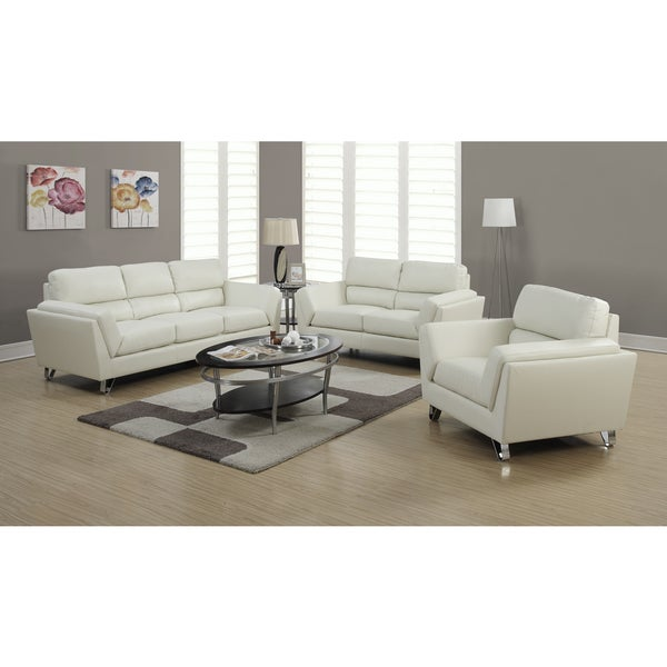 Ivory Bonded Leather Match Sofa with Chrome Legs