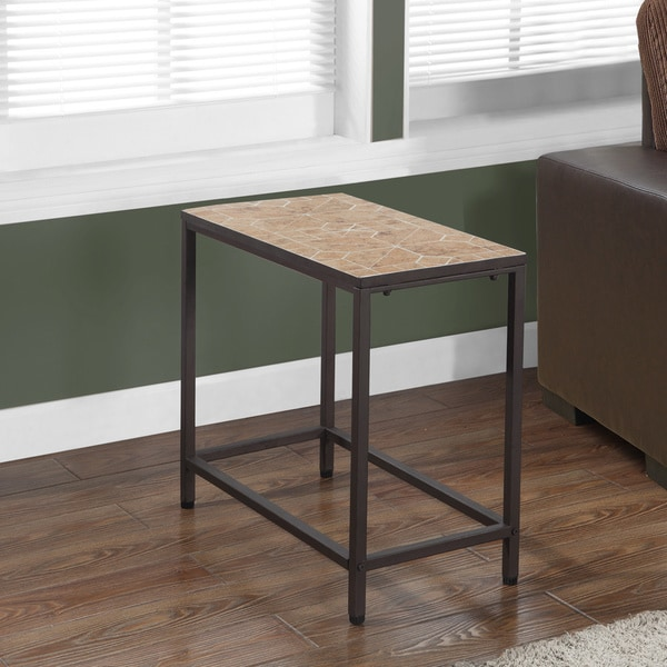 Terracotta Tile Top Hammered Brown Accent Side Table