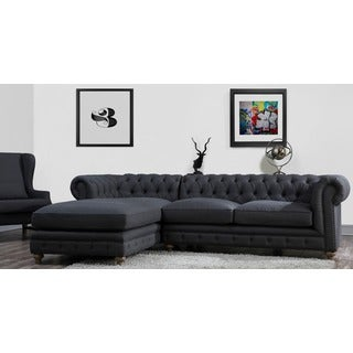 Oxford Grey Linen LAF Tufted Sectional Sofa