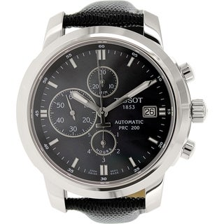 Tissot Women's Prc 200 T014.427.16.121.00 Black Leather Swiss Automatic Watch