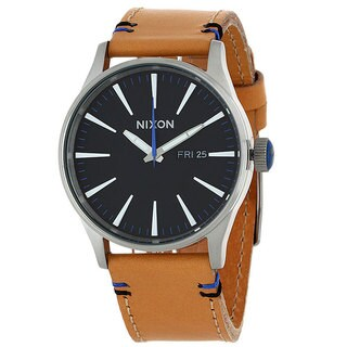 Nixon Men's Sentry Leather Black Watch