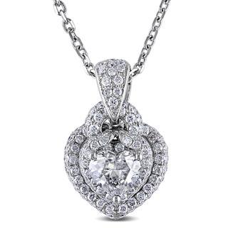 Miadora Signature Collection 14k White Gold 1 7/8ct TDW Diamond Heart Necklace (H-I, I1-I2)